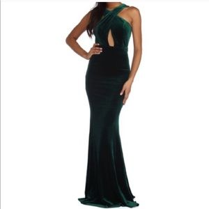 Windsor Green Velour Dress Maxi Criss Cross